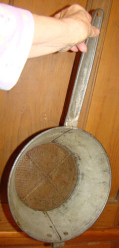 L VTG ANTIQUE early 20th century TIN Kitchen SIEVE, SCREEN STRAINER SIFTER, OLD