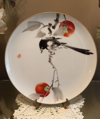 Antique Japanese Fukagawa Mt Fuji Porcelain Plate Bird In Cherry Tree Signed