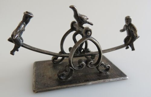 Whimsical sterling silver teeter totter boy girl bird toy gift dated 1968