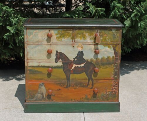 Antique Early 19th c Pine Folk Painted  Americana Horse Equestrian Country Chest