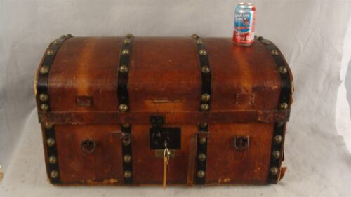Antique1840 Carved Wood & Leather Saratoga  Stagecoach Trunk