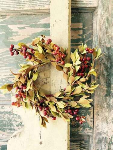 EVA LEAF BERRY CANDLE RING * PRIMITIVE WEDDING CRAFTS DECOR WREATH