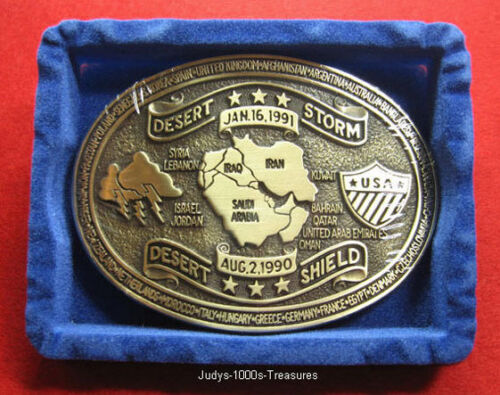 DESERT STORM BELT BUCKLE SOLID BRASS 1990 TO 1991 MADE IN THE U.S.A.Original Period Items - 10953