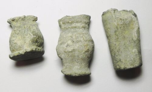 ZURQIEH - ANCIENT HOLY LAND ,  LOT OF 3 SMALL LEAD VESSELS. ONE IS INSCRIBED