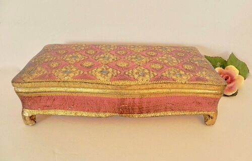 Large Italian Pink Gold Turquoise Florentine Gilt Footed Jewelry Storage Box Vtg