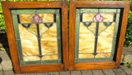 BEAUTIFUL PAIR FLORAL ARTS & CRAFTS STAINED GLASS BUNGALOW WINDOWS c1910s