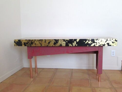 Pop Art Post Modern Memphis Style Gilt Gold Red Black Lacquered Console Table