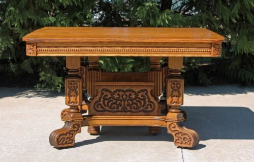 Fabulous Antique Solid Tiger Oak Heavily Carved Dining Table Circa 1900