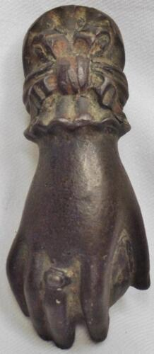 ORIGINAL OLD ANTIQUE VICTORIAN CAST IRON FIGURAL LADY HAND BALL DOOR KNOCKER