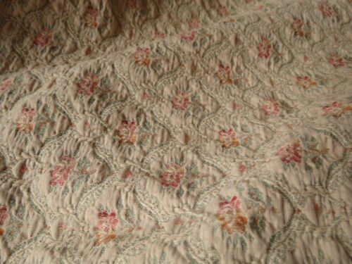 2of2 Antique Vtg FRENCH Tapestry Jacquard Bedspread-fabric FLORAL Upholstery