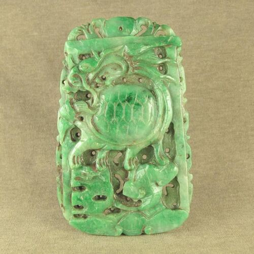 """4.5""""OLD CHINESE JADEITE JADE WITH CARVED TORTOISE BODY DRAGON DECORATION"""