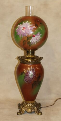 19thc LARGE Victorian Hand Painted Chrysanthemum GWTW Oil Kerosene Parlor Lamp