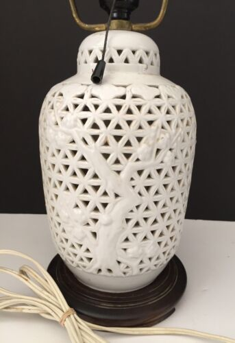 ANT/VINTAGE BLANC DE CHINE JAPANESE/ASIAN LATTICE CARVED LAMP W/ORIGINAL SHADE