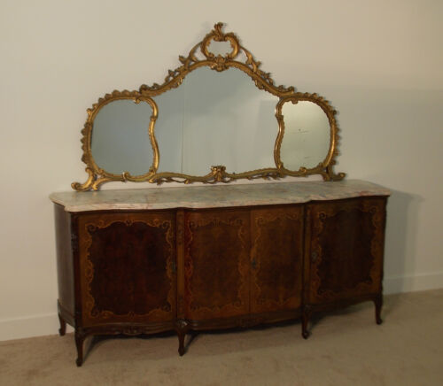 MONUMENTAL Antique French Inlaid Rare Marbletop Sideboard w/ Gilt Over Mirror