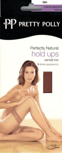 Pretty Polly Perfectly Natural Sandal Toe Hold Ups Tan Bronze Nude