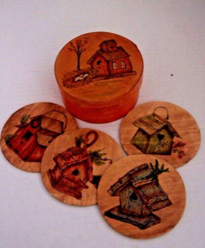 Bentwood Shaker Style Round Box w/Coasters Hand Painted & Artist Signed
