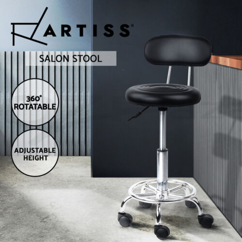 Artiss Salon Stool Swivel Chair Backrest Barber Hairdressing Hydraulic Height <br/> ✔SGS Tested Gas Lift✔360°Swivel✔Fast Dispatch