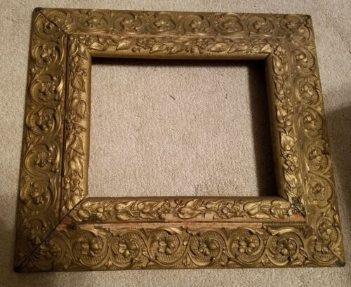 "Antique Gold Gilt Ornate Gesso Wood Picture Frame 15"" X 17"""