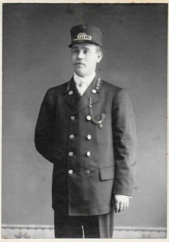 Cabinet Photo of a Motorman in Uniform from Chicago Union Traction Co c1910