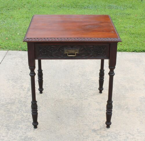 Victorian Eastlake Aesthetic Carved Walnut Side Accent Lamp Table w Drawer c1880