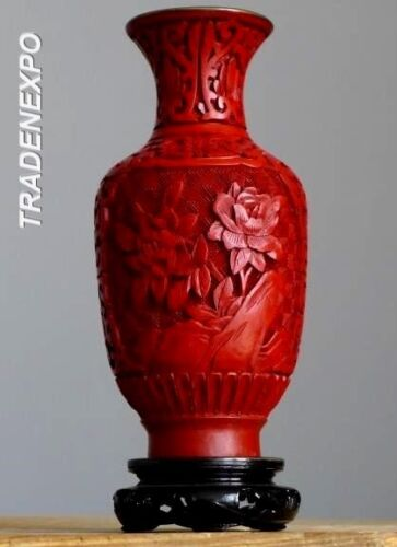 Antique 50-100 Layer Red CINNABAR Chinese Hand Carved Lacquer Boxed Vase + Stand