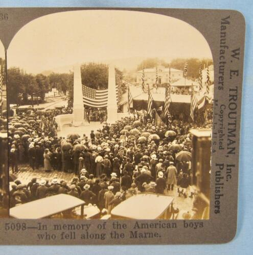 Stereoview W E Troutman 5098 In Memory Of American Boys Who Fell Along Marne (O)
