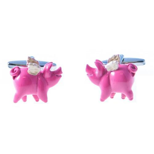 Pig Flying When Pigs Fly Pair Cufflinks Wedding Fancy Gift Box & Polishing Cloth