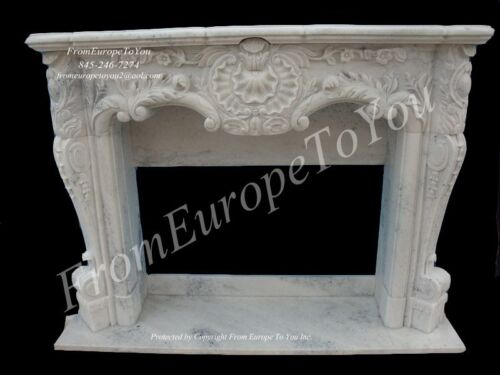 BEAUTIFUL HAND CARVED MARBLE FRENCH STYLE MANTEL - GZ100
