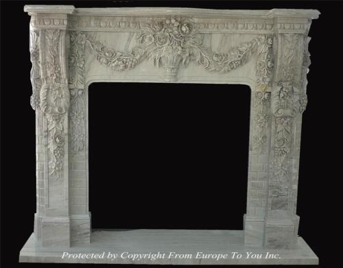 BEAUTIFUL HAND CARVED MARBLE FLORAL FIREPLACE MANTEL - FPM91