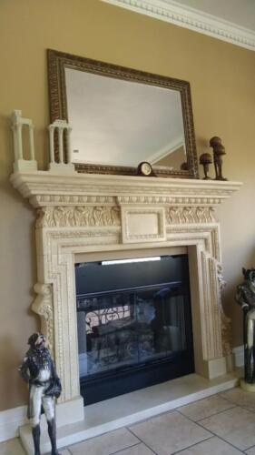 BEAUTIFUL HAND CARVED MARBLE FIREPLACE MANTEL FPM632