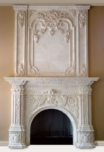 BEAUTIFUL HAND CARVED MARBLE FIREPLACE MANTEL HL001