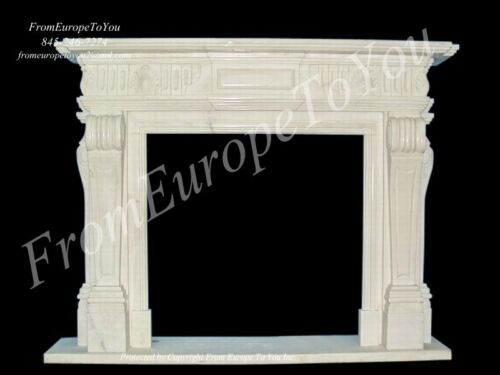 HAND CARVED CHERUB MARBLE FIREPLACE MANTEL TLE6