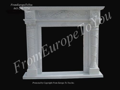 HAND CARVED HUNAN WHITE SOLID MARBLE FIREPLACE MANTEL PB1