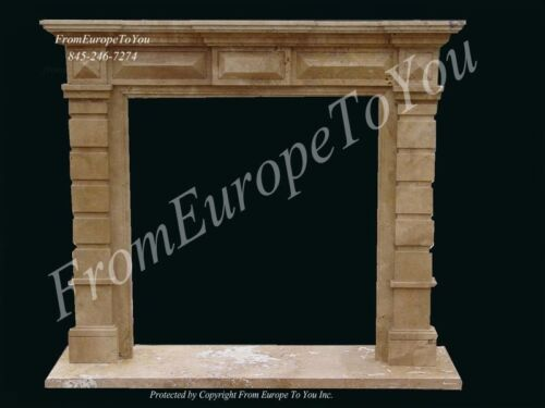 HAND CARVED TRAVERTINE MARBLE FIREPLACE MANTEL TZ8