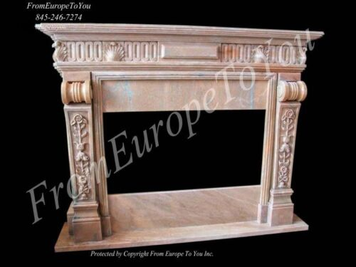 BEAUTIFUL HAND CARVED MARBLE FIREPLACE MANTEL TLE10