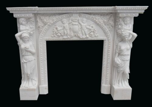 FIGURAL CHERUB HAND CARVED MARBLE FIREPLACE MANTEL M24