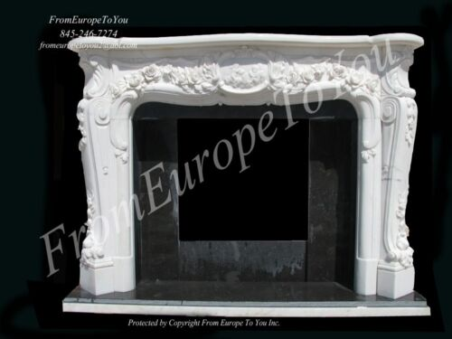 CHERUB HAND CARVED MARBLE FRENCH STYLE FIREPLACE MANTEL