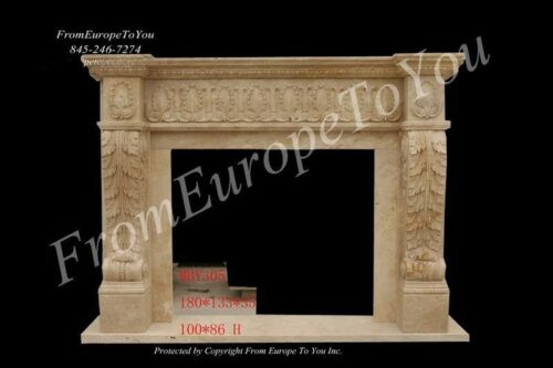 NICE HAND CARVED MARBLE TRAVERTINE FIREPLACE MANTEL