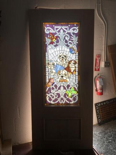 """BEAUTIFUL 36"""" X 80"""" CUSTOM SOLID MAHOGANY STAINED GLASS DOOR WITH DOGS"""