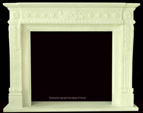 BEAUTIFUL HAND CARVED MARBLE EUROPEAN DESIGN MARBLE FIGURAL FIREPLACE MANTEL Z4
