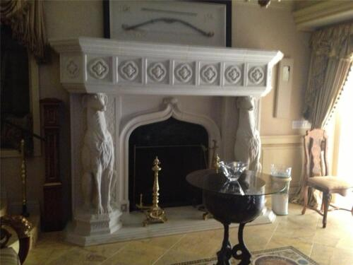 MONUMENTAL BEAUTIFUL HAND CARVED MARBLE ESTATE FIREPLACE MANTEL- AS1