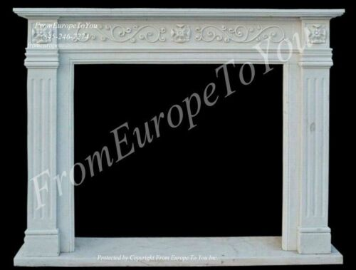 HAND CARVED MARBLE ESTATE EUROPEAN DESIGN CLASSICAL FIREPLACE MANTEL TLE33