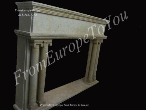 HAND CARVED MARBLE CLASSICAL FIREPLACE MANTEL