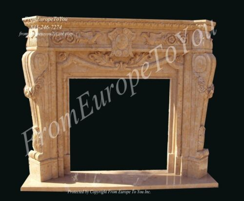 HAND CARVED TRAVERTINE SOLID FIREPLACE MANTEL FPL40