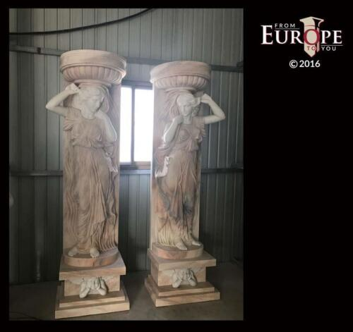 BEAUTIFUL HAND CARVED SOLID MARBLE FIGURATIVE COLUMNS WITH URNS - ZST3