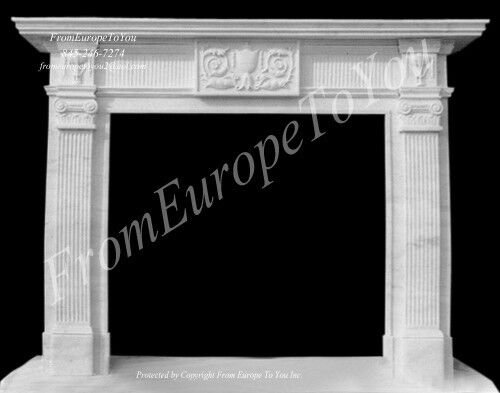 NICE HAND CARVED MARBLE CLASSICAL FIREPLACE MANTEL