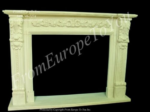 HAND CARVED MARBLE CLASSICAL FIREPLACE MANTEL TLE15