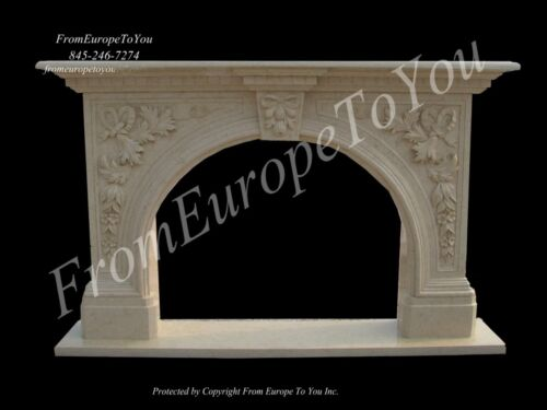 BEAUTIFUL HAND CARVED  CREAM MARBLE FIREPLACE MANTEL