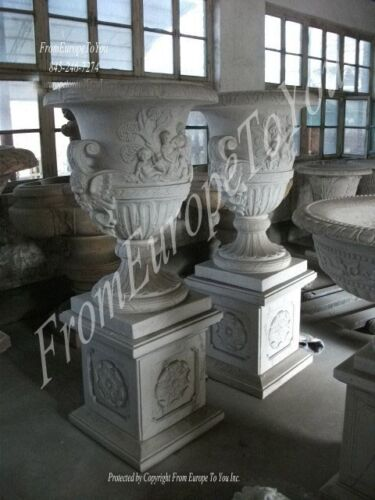 VICTORIAN STYLE HAND CARVED MARBLE PALACE URNS - URN8