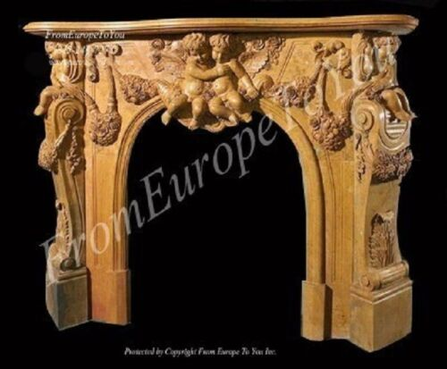 HAND CARVED CHERUB MARBLE FIREPLACE MANTEL TLH011A